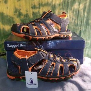 NEW Rugged Bear Navy Orange Sport Sandals Size 3